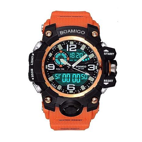 WMWMY Relojes Deportivos para Hombres Cronógrafo Impermeable Reloj Digital Led Militar Tira De Caucho Analógico Reloj