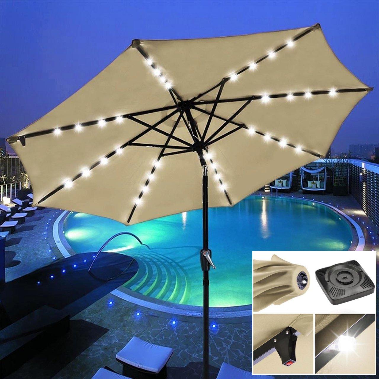 9' Outdoor Patio Solar Power LED Aluminium Umbrella Sunshade UV Blocking Tilt & Crank Beige #906