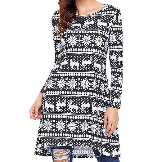 191a0ae277224 Hatoys Christmas Women Xmas Christmas Dress Long Sleeve Santa Outfit  Christmas Cozy Flared Dress at Amazon Women's Clothing store: