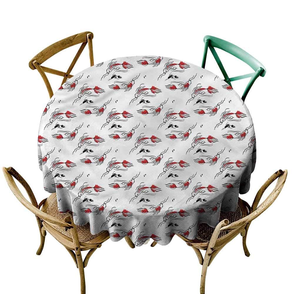 LsWOW 長方形円形テーブルクロス 魚 キュート クジラ 水遊び 旅行などに最適 60 Inch 60 Inch カラー06 B07Q6P3HFQ