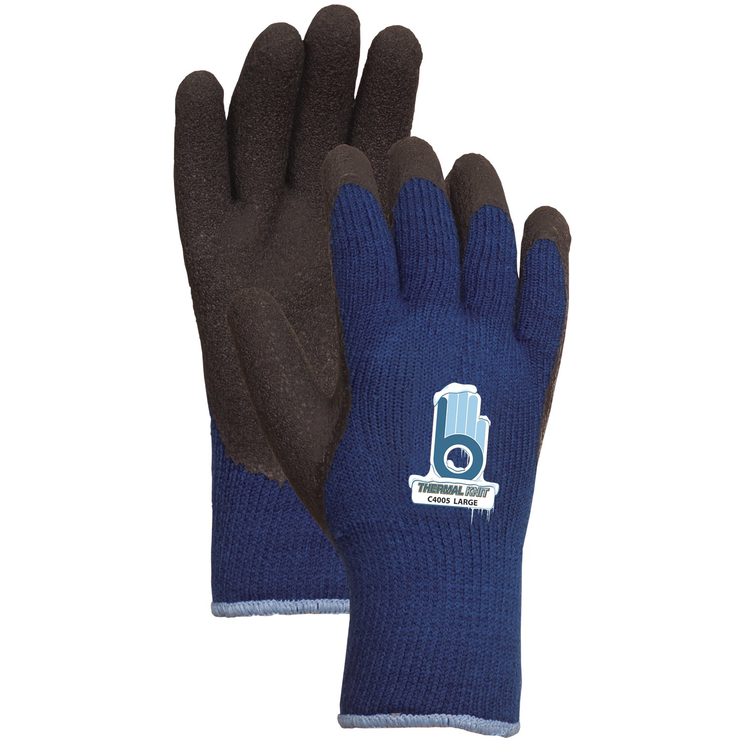 Bellingham C4005S Extra Heavy-Duty Insulated Thermal Knit Work Glove, Heavy-Duty Acrylic Liner and Black Rubber Palm, Small, Dark Blue