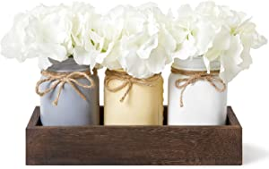 Dahey Decorative Mason Jar Centerpiece Wood Tray with Artificial Flowers Rustic Country Farmhouse Decor for Home Coffee Table Dining Room Living Room Kitchen