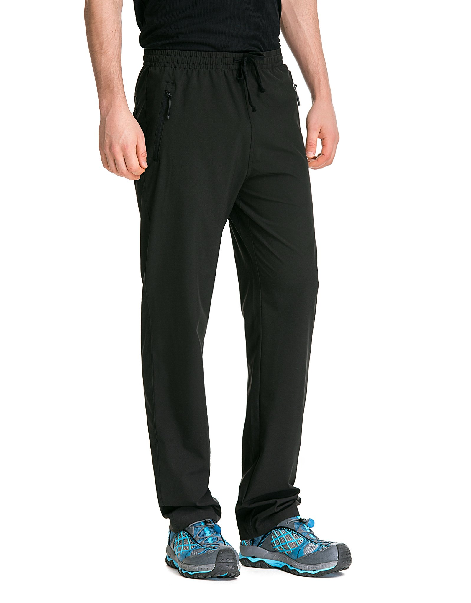 Trailside Supply Co. Men's Light Weight Stretch Elastic-Waist Drawstring Track Running Gym Pants Large Black
