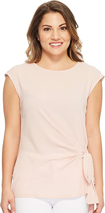 9c761b739f9a Vince Camuto Specialty Size Womens Petite Sleeveless Mix Media Tie Front  Blouse Wild Rose PXS One