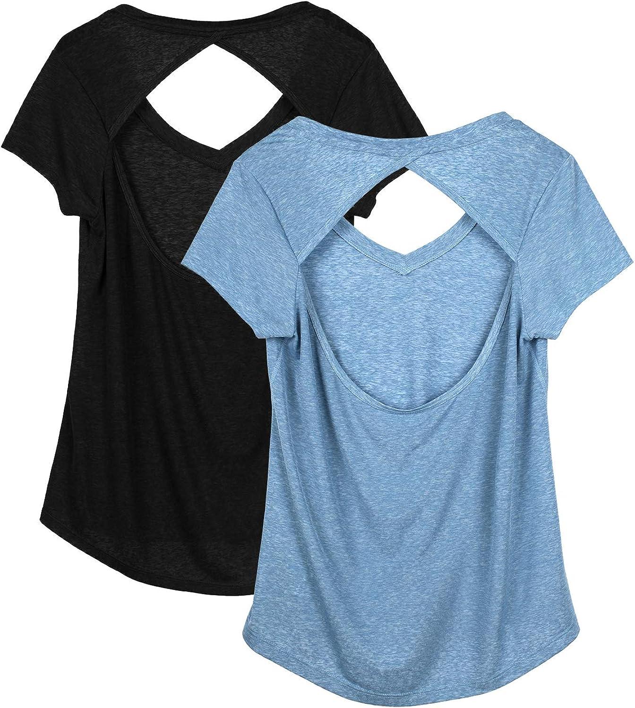 icyzone T-Shirt de Sport Femme Paquet de 3 Running Tops Manches Courtes Exercice Yoga D/écontract/é Shirt