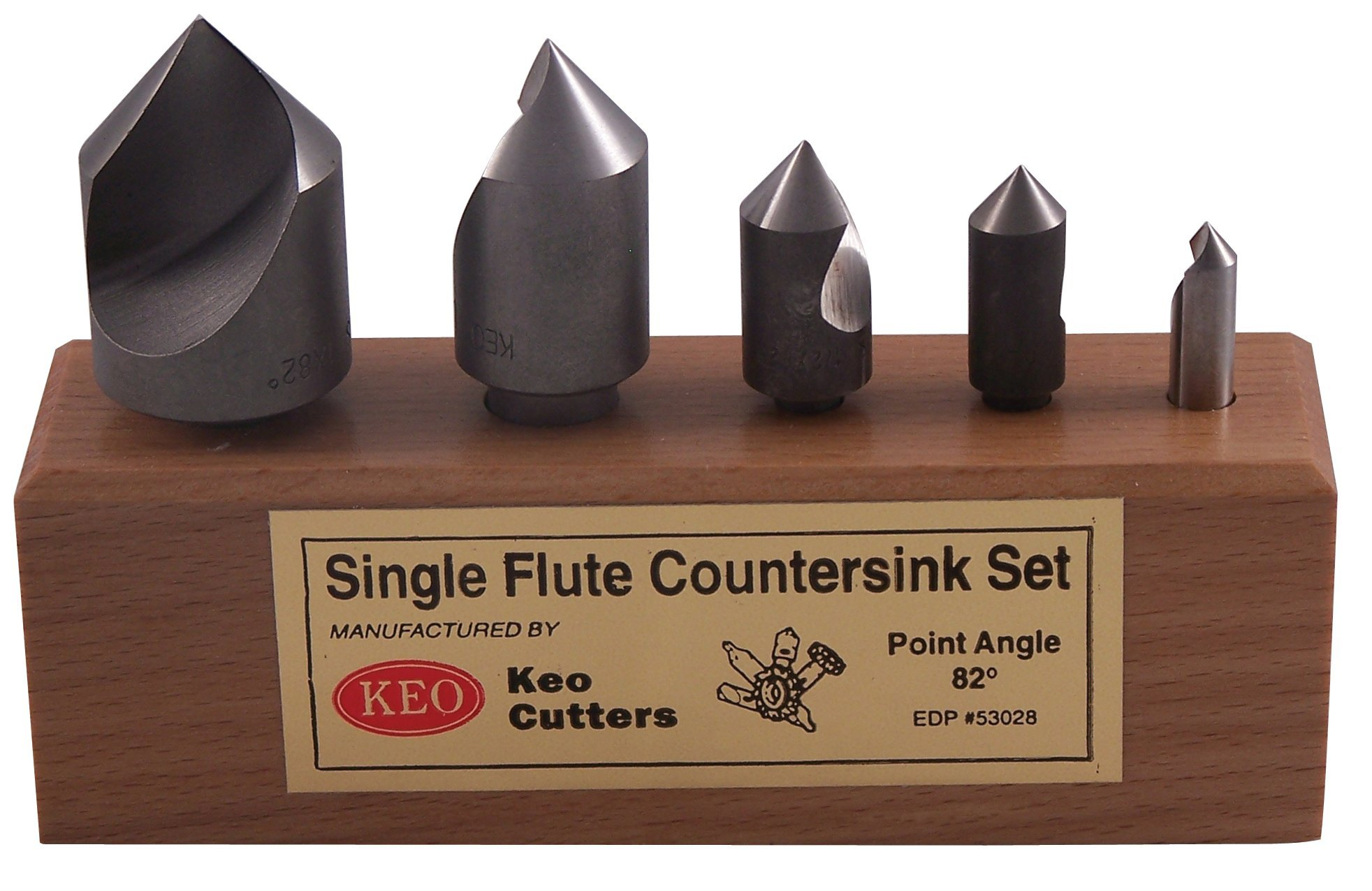 KEO 50059 Cobalt Steel Single-End Countersink Set, Uncoated (Bright) Finish, Single Flute, 90 Degree Angle, 1/4'' - 1'' Body Diameter