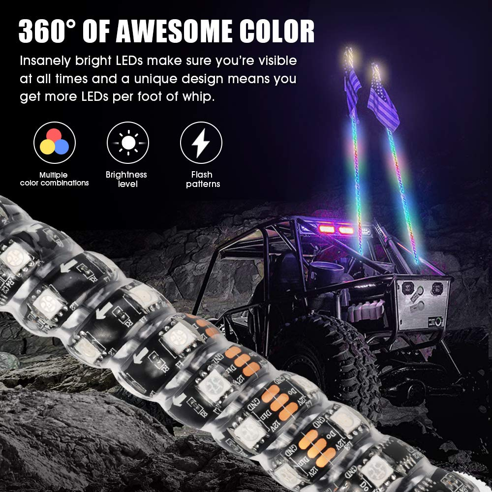 Road Vehicle ATV Polaris RZR 4 Wheeler 2PCS Flag 20 Colors Remote Controll Waterproof Antenna Whips Lamp for UTV Off Novsight 3FT 360/° Spiral Multicolor Chasing Dancing LED Whip Lights
