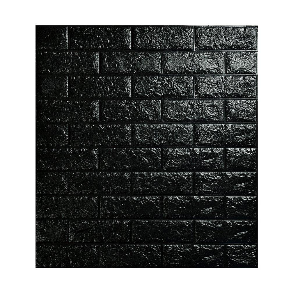 3D立体壁紙 DIYレンガ調壁紙シール 70x77CM ウォールステッカー 軽量レンガシール 壁紙シール 自己粘着 防水 多色選択 (70*77cm(10枚入れ), ブラック) B071P3BXH1 70*77cm(10枚入れ)|ブラック ブラック 70*77cm(10枚入れ)