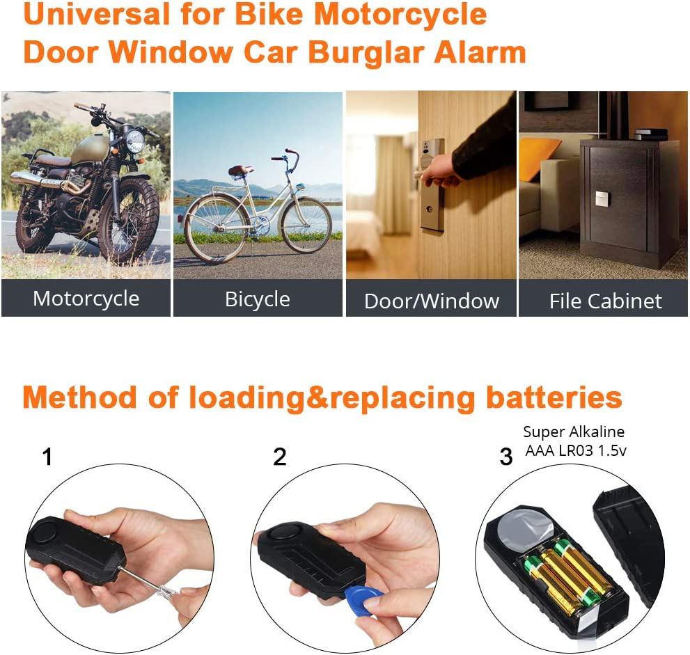 WATERWICH Wireless Anti-Theft Bike Motorcycle Bicycle Door Window Entry Vibration Alarm with Remote Security Alarm System Detector Operated Loud 113dB for Scooter Cart Trailer Equipment Fence