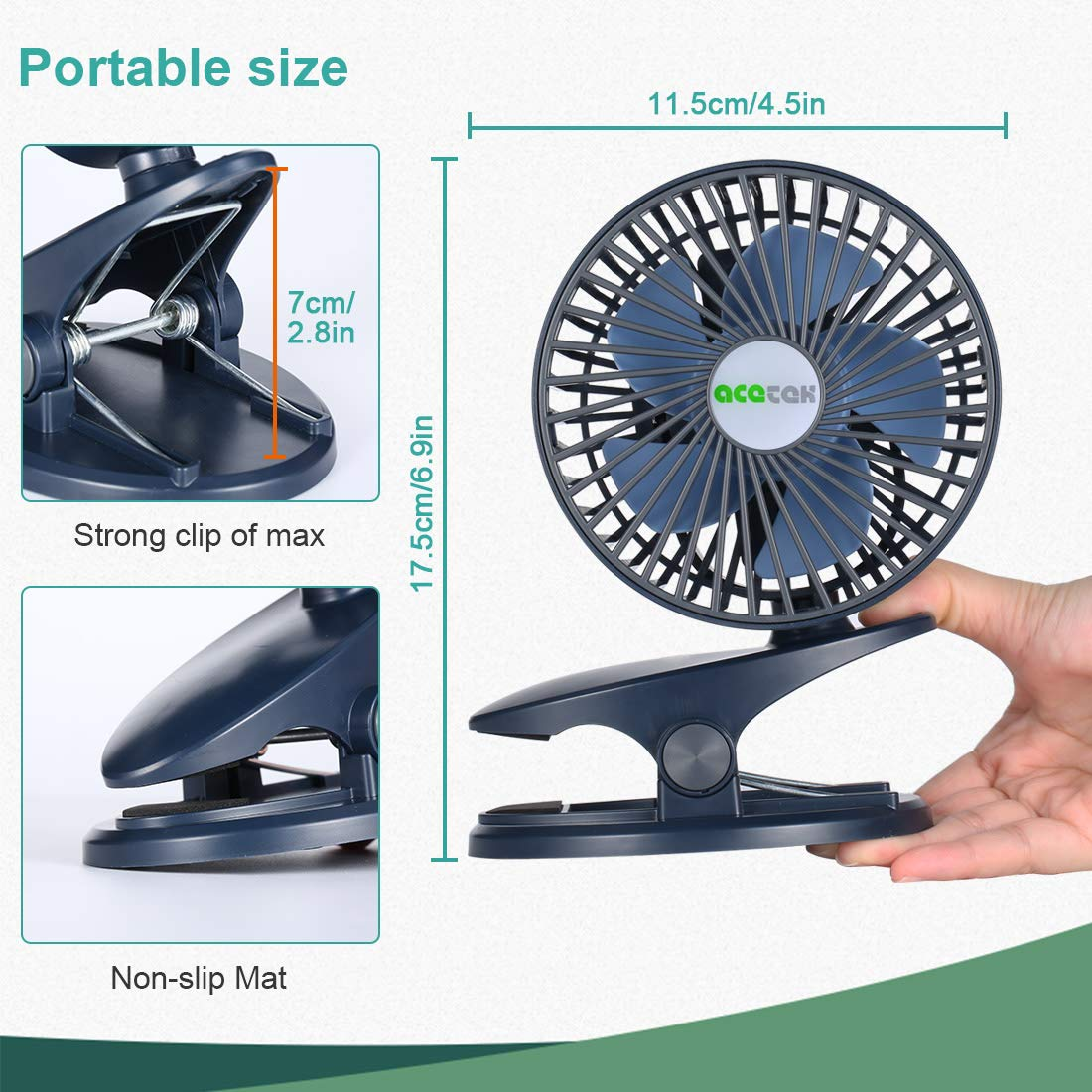 Offices 2 Fan Modes and 3 Lighting Modes for Students prams,Blue Portable Fan Clip USB Charge Dying or Battery-Powered Small LED lamp Fan