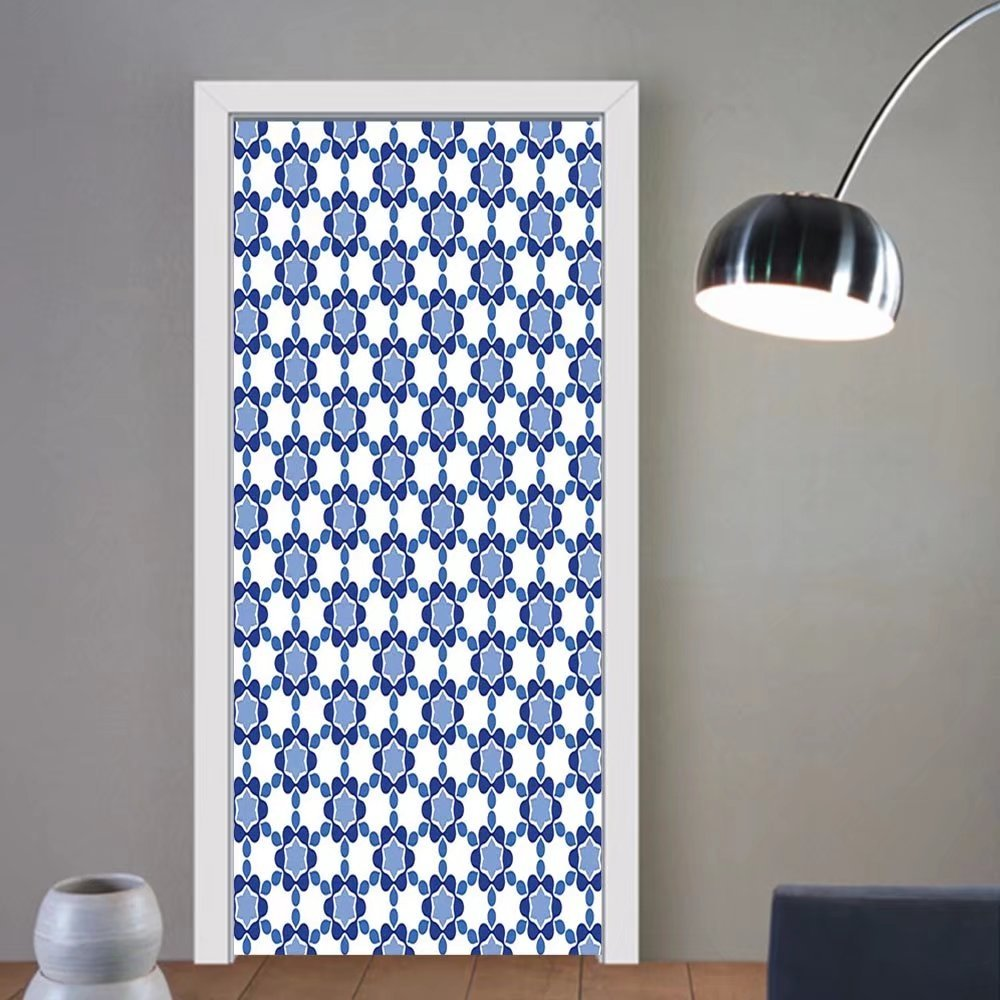 Gzhihine custom made 3d door stickers Moroccan Ottoman Oriental Tile Mosaic Image Hexagonal Honeycomb Shaped White Turquoise and Dark Blue For Room Decor 30x79