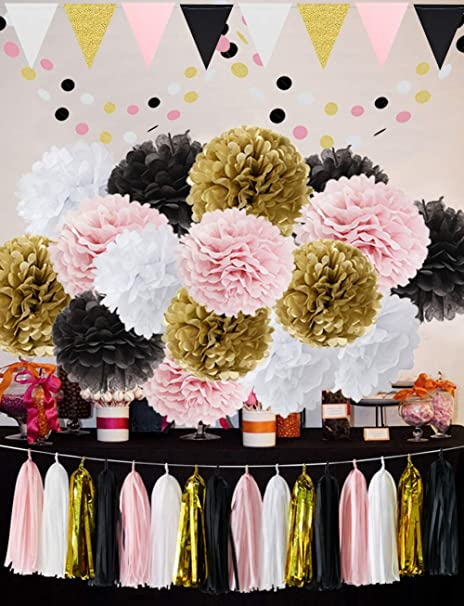 French Paris Theme Birthday Decorations Party Decoration 35pcs Black Pink White Gold Tissue Paper Pom Pom Paper Tassel Garland Circle Garland Triangle
