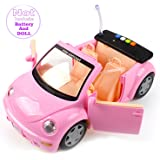 Convertible Door-Open Princess Car For Barbie Doll(Pink)-By T STREET