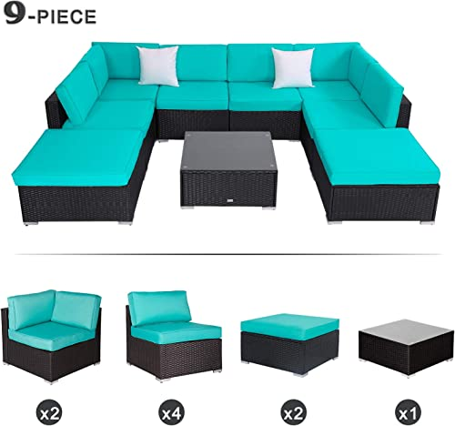 9 Piece Patio Furniture Set Outdoor All-Weather Wicker Sectional Set Garden Rattan Conversation Set Cushioned Sofa and Coffee Table, Black Rattan with Tiffany Blue Cushions
