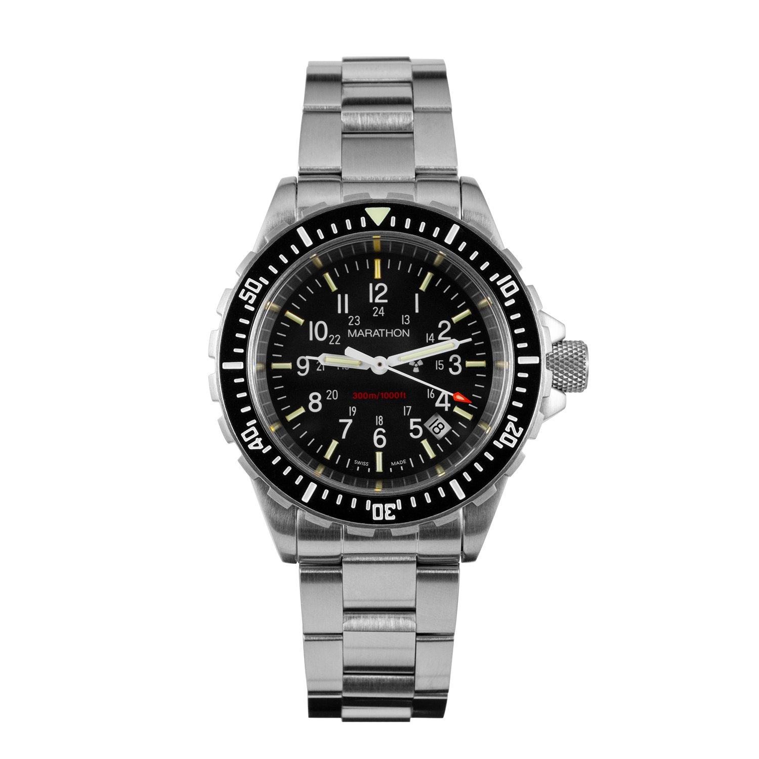 Marathon Watch WW194007 Tsar Swiss Made Military Issue Milspec Diver s Quartz Watch with Tritium Illumination and Sapphire Crystal 41 mm – Available or Rubber Strap or Stainless Steel Bracelet