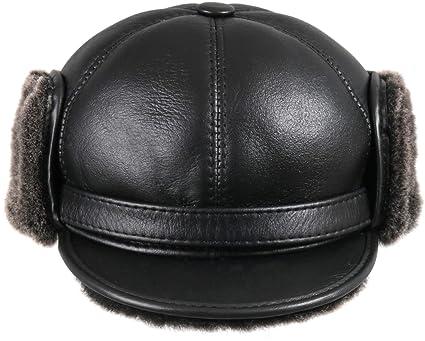 e712d779349 Zavelio Men s Shearling Sheepskin Elmer Fudd Pilot Visor Hat Small Black