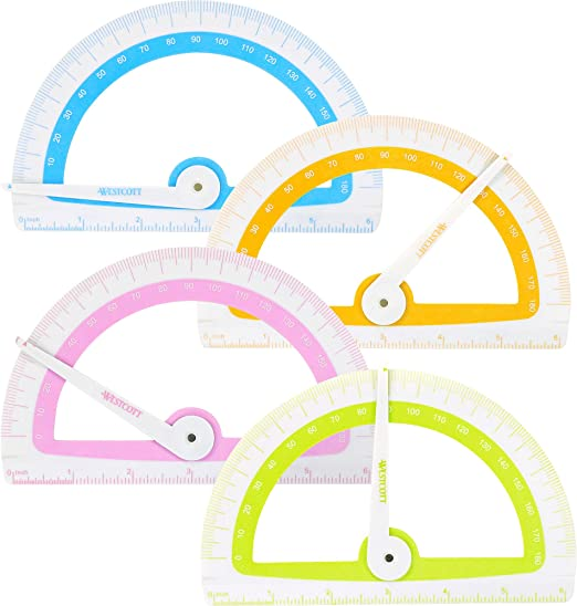 Assorted Colors Westcott 14376 Soft Touch School Protractor with Microban Protection