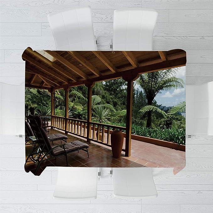 TecBillion Mantel no se decolora, decoración de Patio, para Mesa al Aire Libre, Picnic, Cena, casa de Verano Moderna Paisaje de montaña: Amazon.es: Hogar
