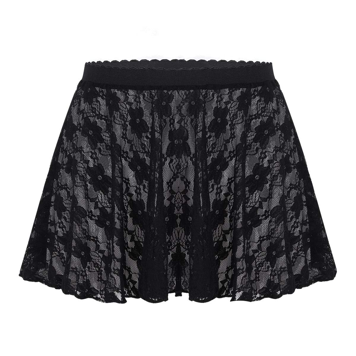 dPois Kids Girls Basic Dance Active Dress Wrap Skirt Classic Chiffon Dancewear Black (Lace) 5-6