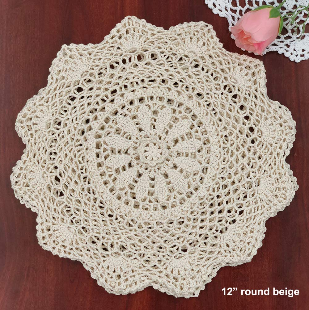 "Creative Linens 6PCS 12"" Round Crochet Lace Doily Beige 100% Cotton Handmade, Set of 6 Pieces - Beige Crochet Lace Doily Set, handmade 12"" round each piece, Set of 6 pieces Matching crocheted sunflower daisy placemats, table runners, napkins, center-pieces, tablecloths, kitchen curtains and doilies in different sizes available - placemats, kitchen-dining-room-table-linens, kitchen-dining-room - 71cmn0ELEHL -"