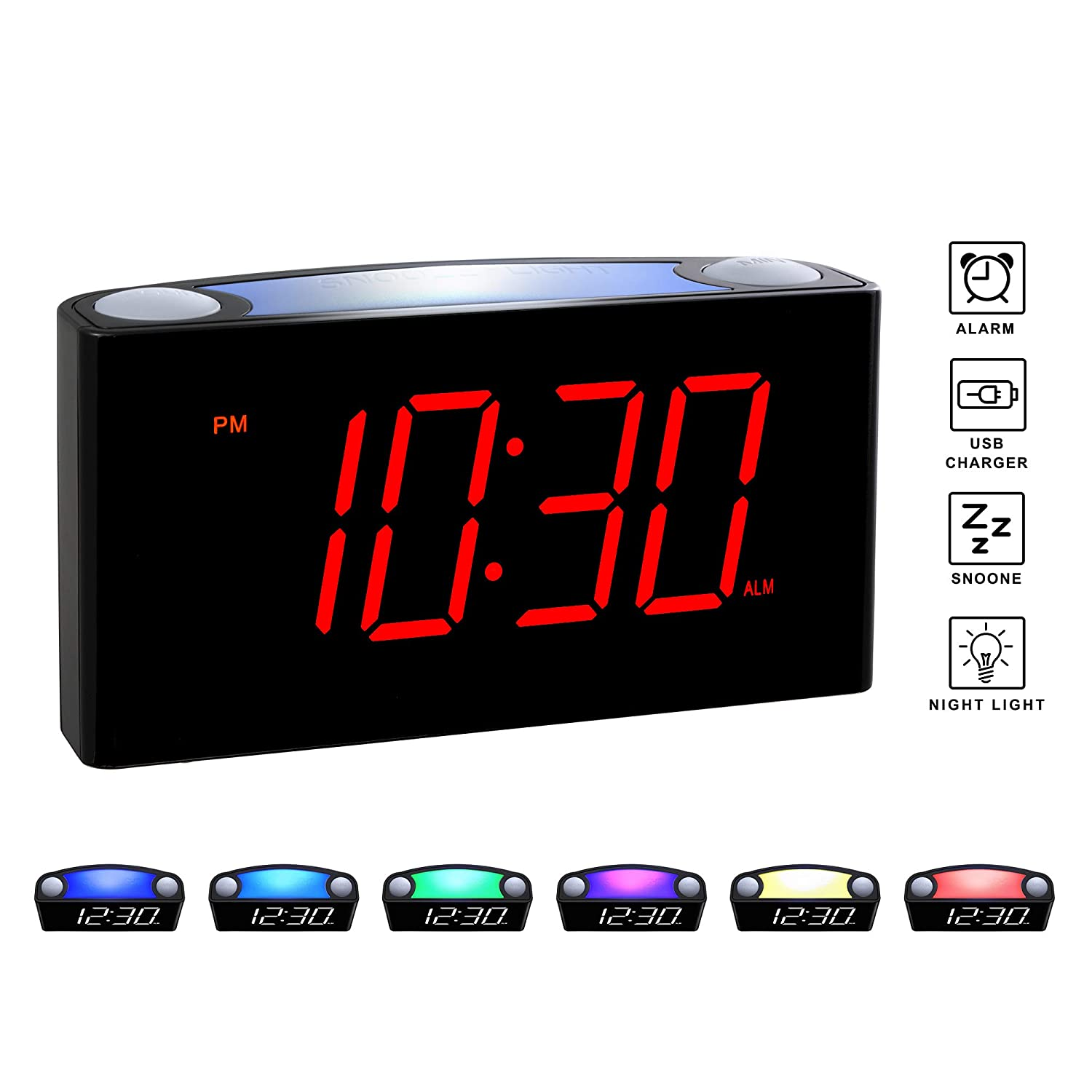 "Rocam Home LED Digital Alarm Clock - 6.5"" Large Red Display, Loud Alarm, 7 Colored Night Light, Snooze, Dimmer, Dual USB Charger Ports, Battery Backup, 12/24 Hours for Bedrooms, Kids, Heavy Sleepers"