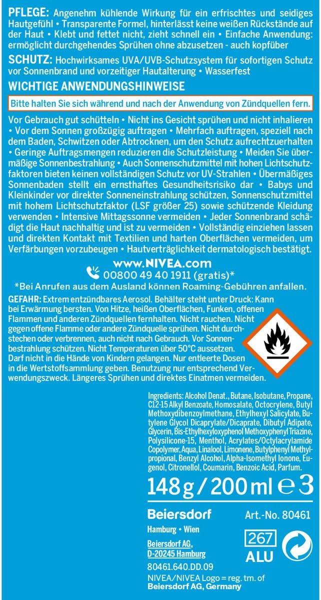 NIVEA Sun Protect y Recordatorio de refrigeración Sun spray SPF 50 ...