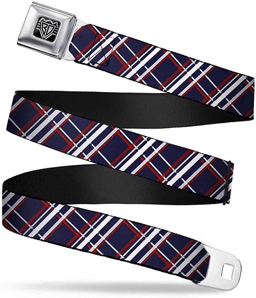 x Blue//White//red Buckle-Down Unisex-Adults Seatbelt Belt Plaid XL 1.5 Wide-32-52 Inches