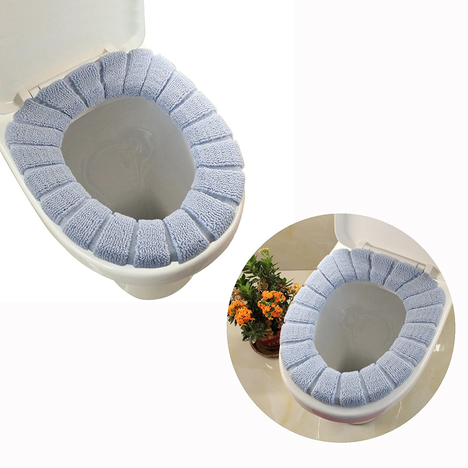 Cisixin Bathroom Soft Thicker Warmer Stretchable Washable Cloth Toilet Seat Cover Pad (Blue)