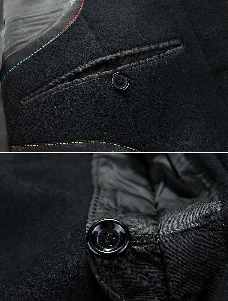 Lavnis Men's Woolen Trench Coat Long Slim Fit Business Outfit Jacket Overcoat 2XL by Lavnis (Image #4)