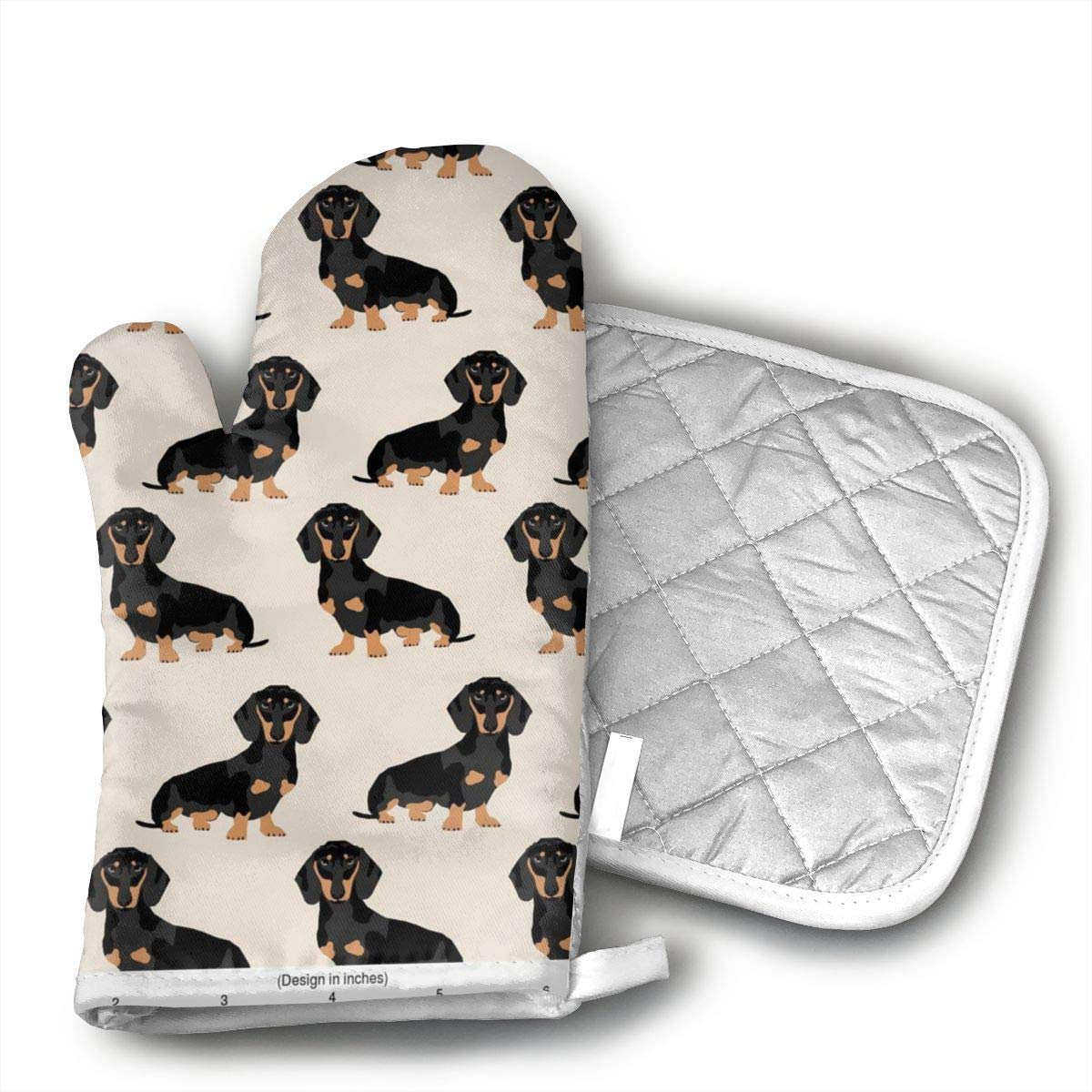 CASM Wiener Dog Fabric Doxie Dachshund Weiner Dog Pet Dogs Unique Design Eyeballs.jpg Microwave Oven Gloves,Cotton Oven Gloves Heat Resistant Microwave Oven Kitchen Gloves