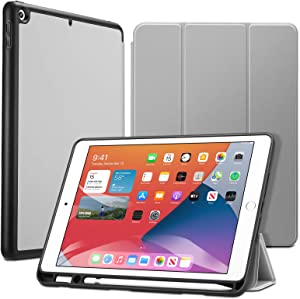 ESR Case for iPad 8th/7th Gen with Pencil Holder [Trifold Viewing Stand] [Auto Sleep/Wake Cover] Rebound Series – Gray