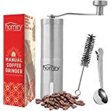 Precision Manual Coffee Bean Grinder By Homiry: Best Portable, Easily Adjustable, Canister Ceramic Burr, Spice and Herbs, Hand Crank Mill-Made Of Stainless Steel-Free Pouch Bag, Cleaning Brush & Scoop