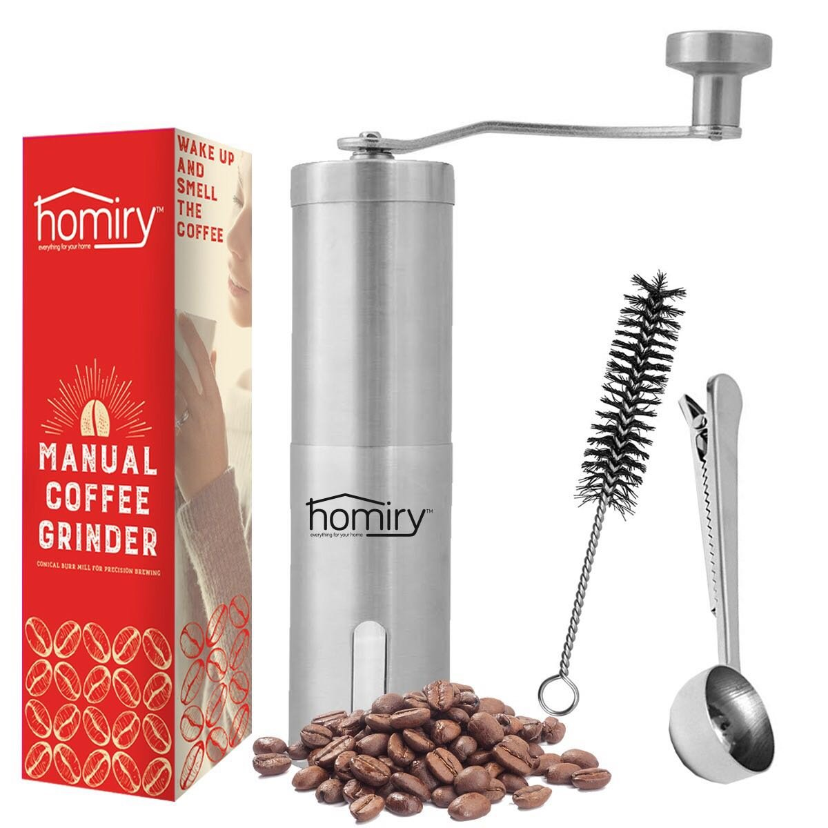 Precision Manual Coffee Bean Grinder By Homiry: Best Portable, Easily Adjustable, Canister Ceramic Burr, Spice and Herbs, Hand Crank Mill-Made Of Stainless Steel-Free Pouch Bag, Cleaning Brush & Scoop by Homiry (Image #1)