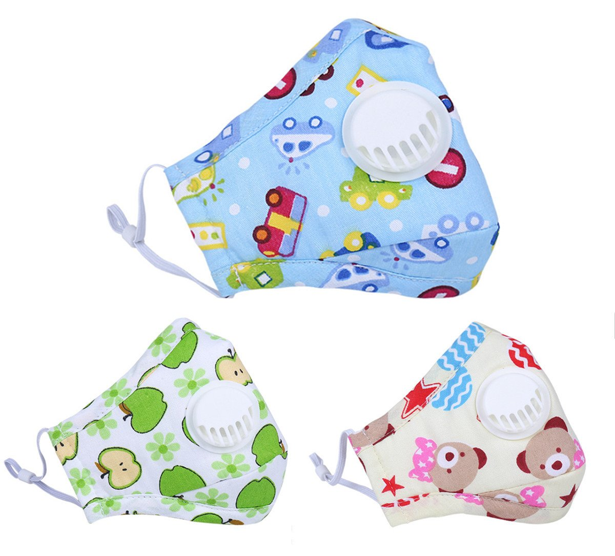 Santwo PM2.5 Breathing Valved Face Mask Cotton Anti Haze Mouth-Muffle for Kids 3 Pack (A)