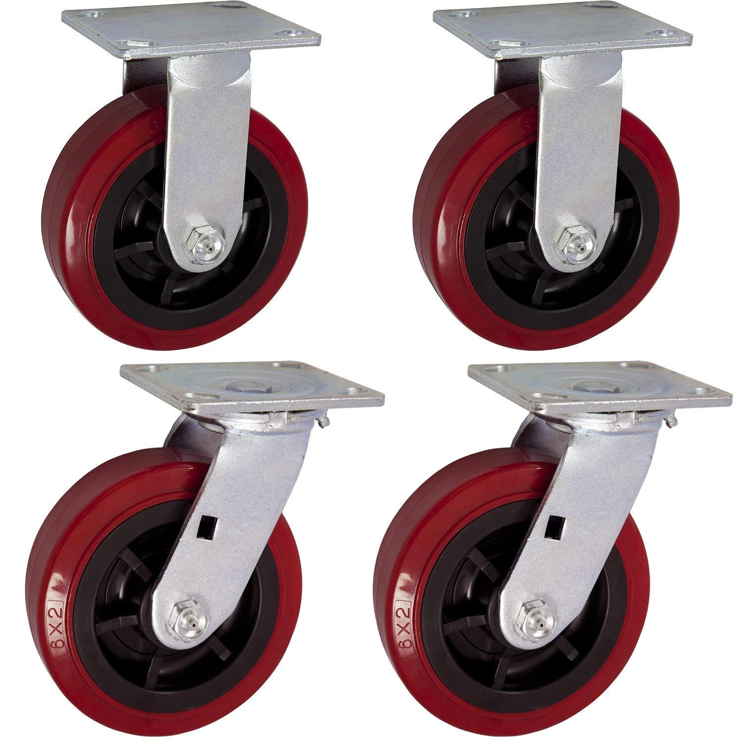 6'' X 2'' Heavy Duty Caster Set of 4-2 Swivel Casters and 2 Rigid Casters - 3600 lbs Per Set of 4 - (4 Pack) - Dark red Polyurethane on Black Polyolefin Core - CasterHQ Brand Casters by CasterHQ (Image #1)