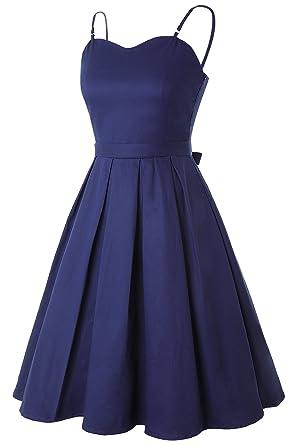 5b09a8be94a Robe de Soirée Vintage Femme Courte Mi Longue avec Bretelle Col Cœur Swing  Rockabilly Plissée Bleu