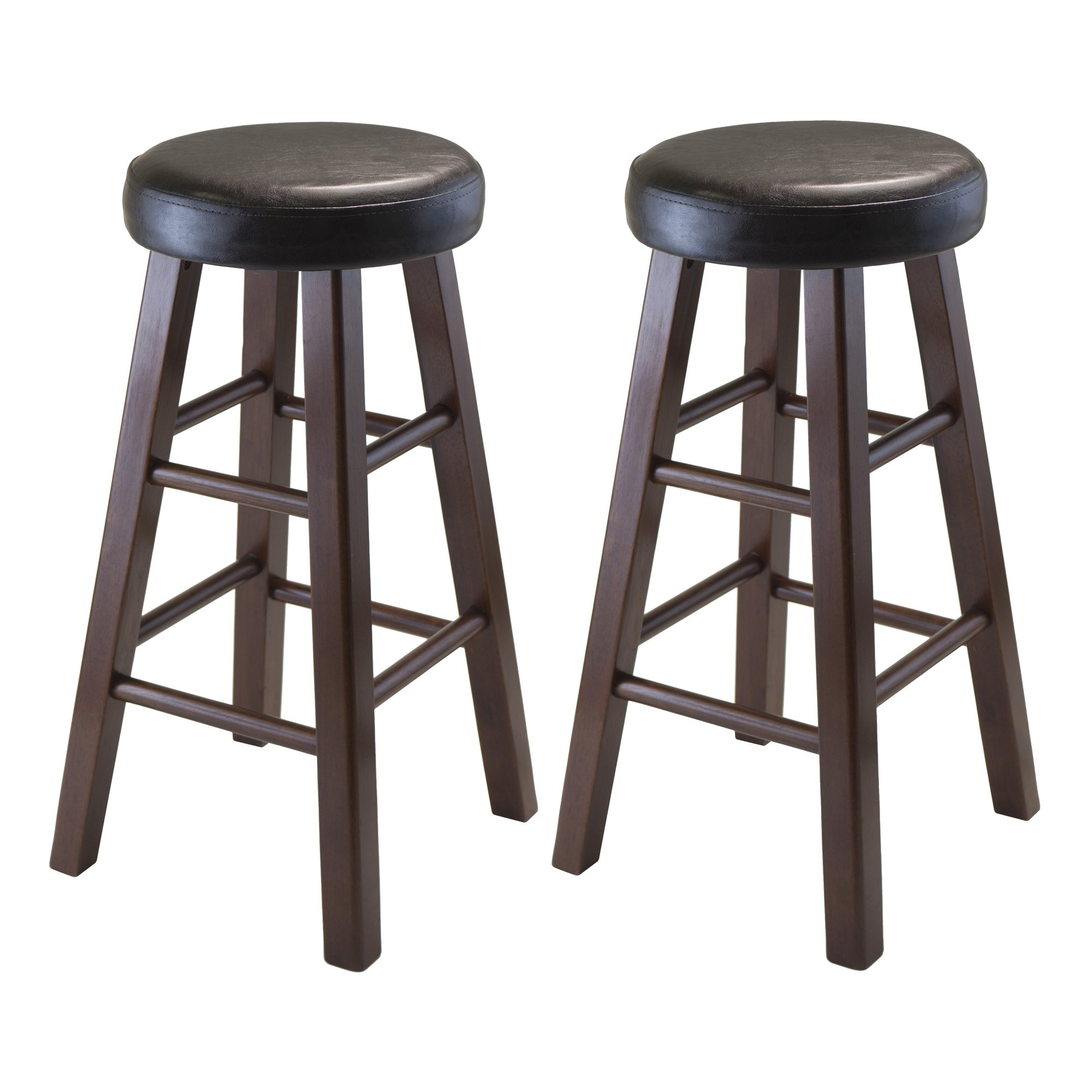 Winsome Wood Marta Assembled Round Counter Stool with PU Leather Cushion Seat, Square Legs, 25.4-Inch, Set of 2 by Winsome