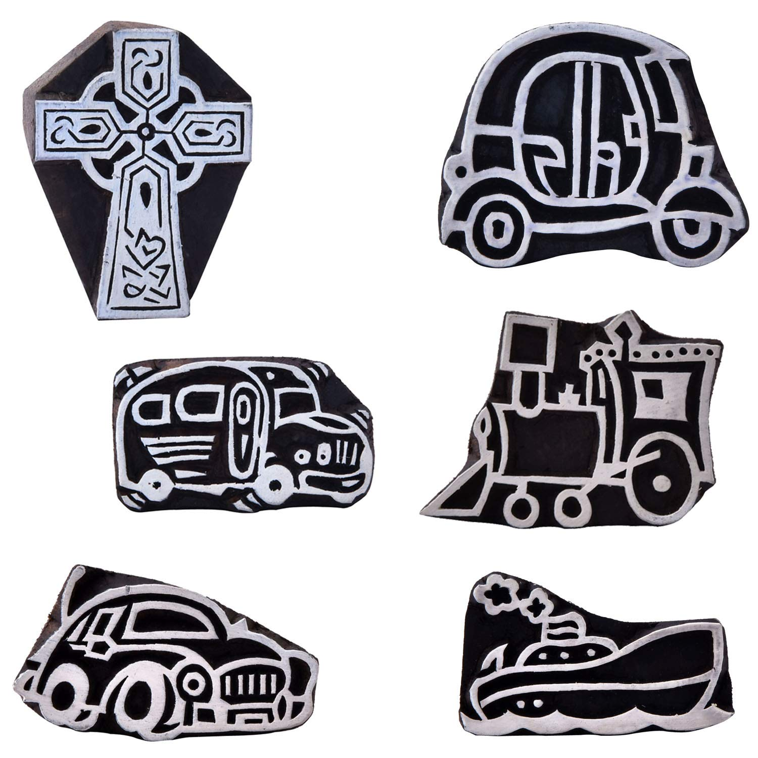 Vehicle and Jesus Cross Handmade Wood Stamp Pottery Printing Block Textile Paper Printing Clay Project Set of 6 by CraftyArt