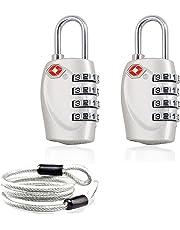 Aspen 4 Dígitos Combinación TSA Candado Más Alta Seguridad TSA Luggege Bloqueo con Cable de Acero para el Viaje Equipaje Maleta