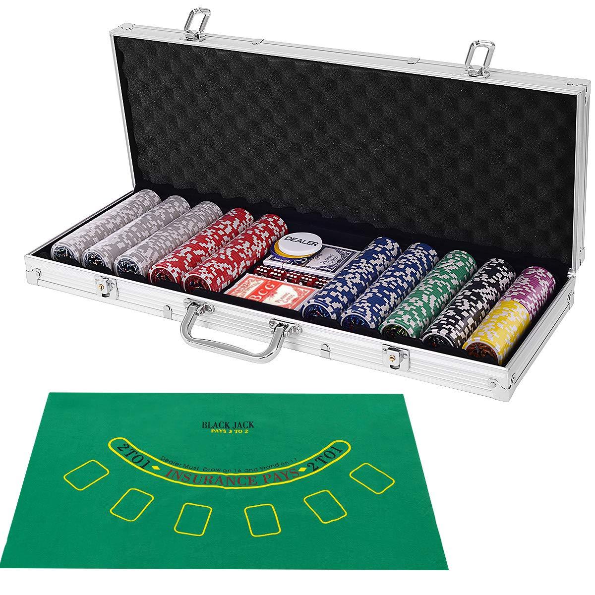 costzonポーカーチップのセット500、11.5グラムのアルミケース付き、5ダイスチップ、2 Decks Playing Silver Case Cards Playing、ディーラーボタン、レイアウト シルバー Silver Case B072XBB94J, かぎの蔵屋:a8f65cd5 --- 2017.goldenesbrett.net