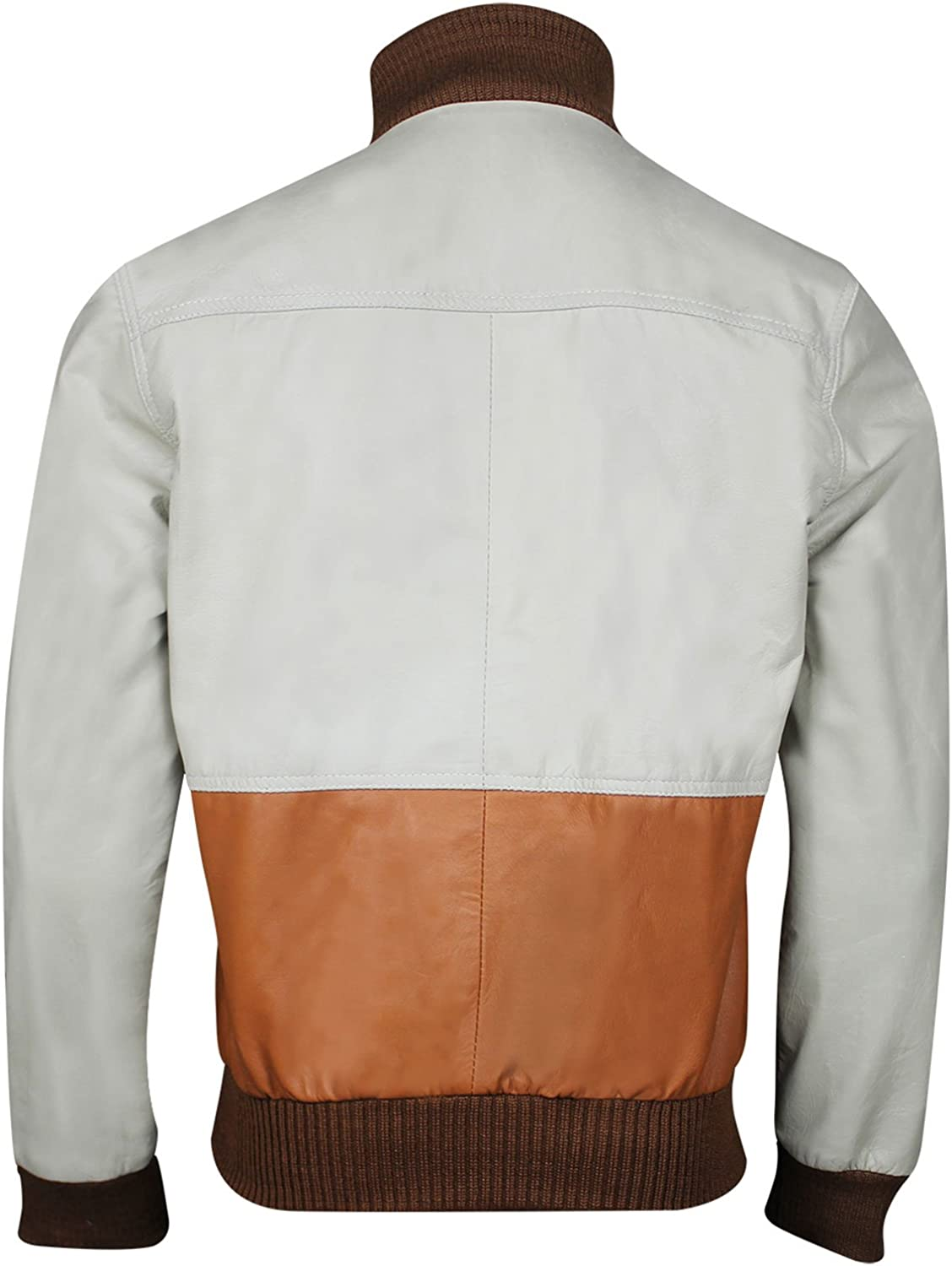 CHICAGO-FASHIONS Mens Chow Brown Bomber Leather Jacket