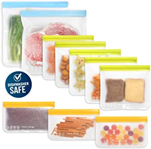 10 Pack Dishwasher Safe Reusable Food Storage Bags (5 Resuable Sandwich Bags, 3 Reusable Snack Bags, 2 Freezer Gallon Bags), Extra Thick Leakproof Silicone Free Zip-lock Plastic Bags
