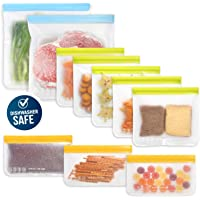 10 Pack Dishwasher Safe Reusable Food Storage Bags (5 Resuable Sandwich Bags, 3 Reusable Snack Bags, 2 Freezer Gallon…