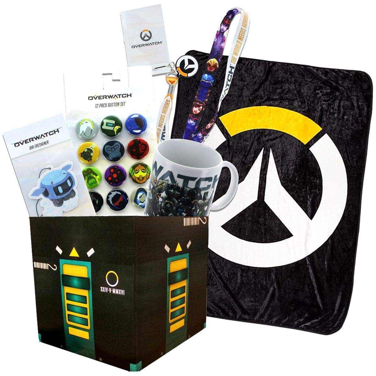 Toynk Overwatch Collectibles |Collectors Looksee Box | Fleece Blanket | Mug | Pins