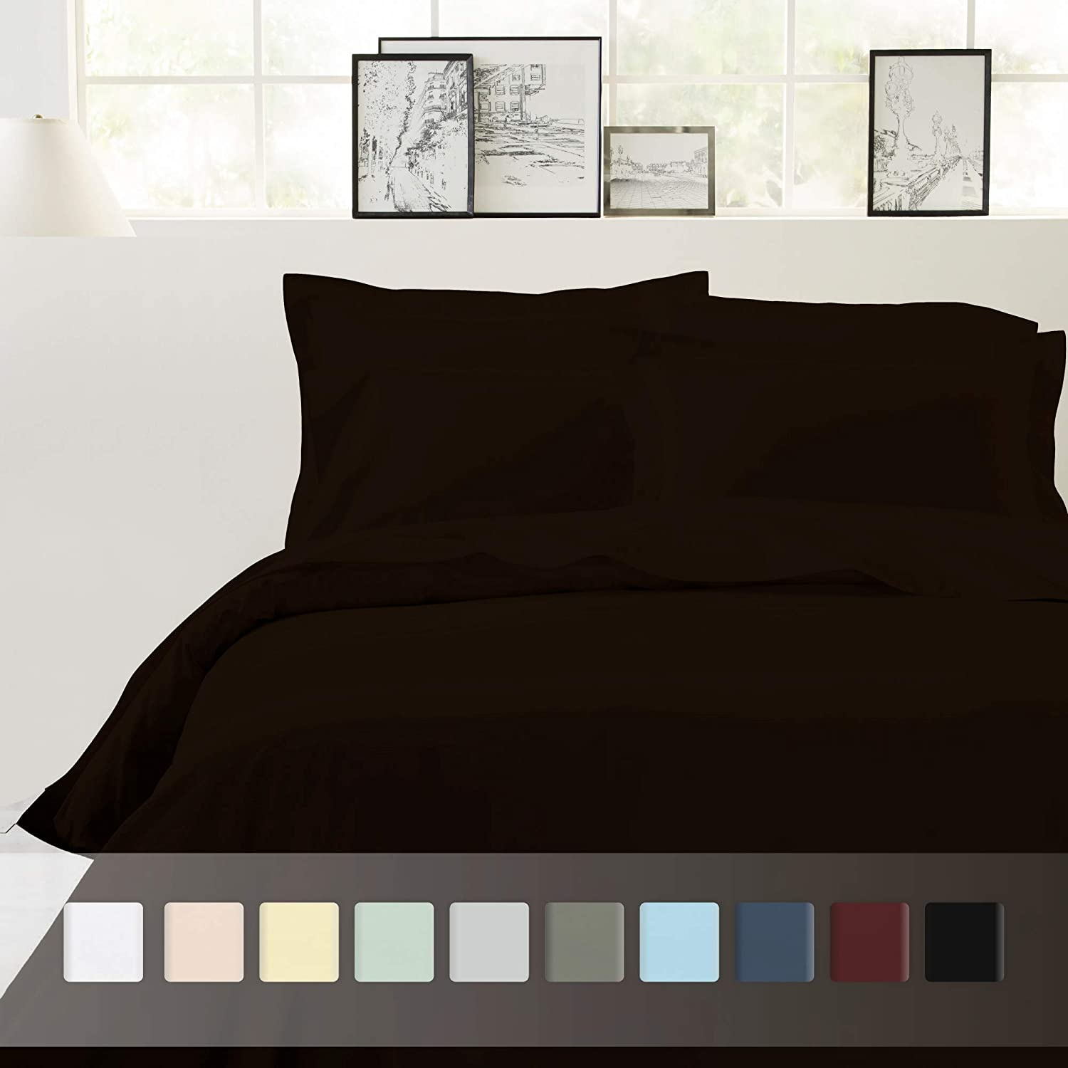 Chocolate Brown Full Queen  Duvet Cover Set 400 TC 100% Cotton Sheet Snowflakes Grey Full Size Printed Sheet Set, 4 Pc Longstaple Combed Cotton Bedding Sheets For Bed, Breathable, Soft Sateen Weave Fits Mattress Upto 18'' Deep Pocket