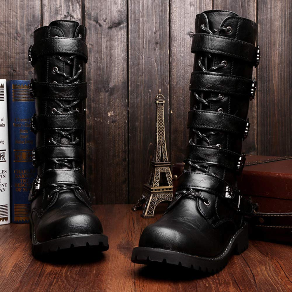 Männer High Top Biker Stiefel PU Army Military Tactics Wüste Spitze Combat Boot Seitlichem Reißverschluss Spitze Wüste Ups Ankle Schuhe Black 75212e