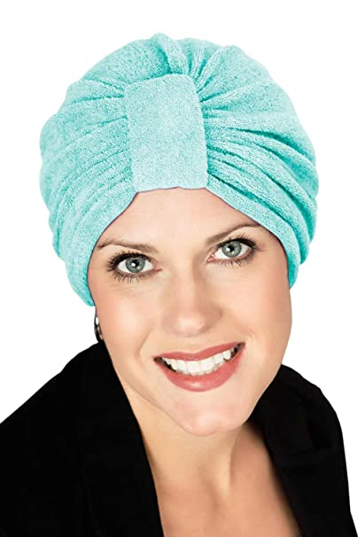 Headcovers Unlimited Basic Terry Cloth Turban | Shower, Spa, Beauty or Chemo Turbans for Women Aqua at Amazon Womens Clothing store: