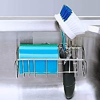 KIKIBRO Adhesive Sink Caddy, 2-in-1 Sink Sponge Holder + Sink Brush Holder, Stainless Steel Kitchen Sink Organiser…