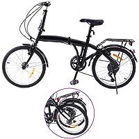 Ridgeyard 20 pouces pliable à 6 vitesses pliable vélo avec support arrière LED lumière de la batterie