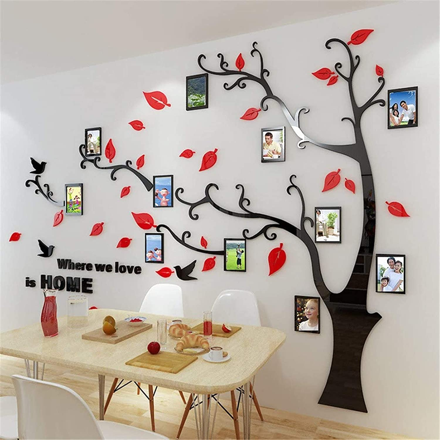 Beddinginn Tree Wall Sticker with Famliy Picture Frames DIY Branches Photo Gallery Frame Decor for Office and Home 118×72 Inches (Red Leaves,Right)